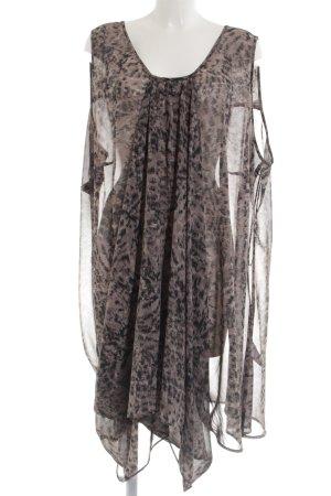 Ulla Popken Vestido estilo flounce marrón-negro estampado de leopardo