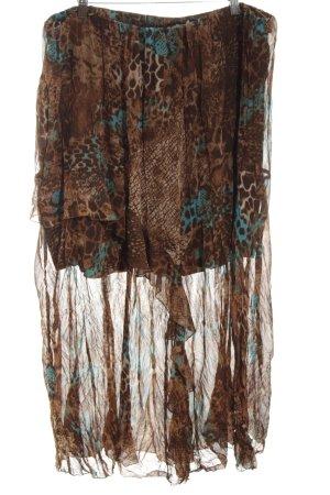Ulla Popken Flounce Skirt bronze-colored-turquoise abstract pattern