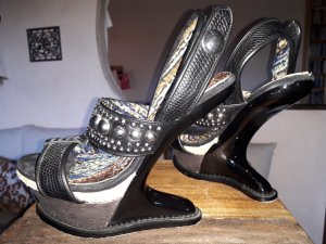 Irregular choice High Heel Sandal black-silver-colored leather