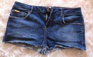 Zara Woman Pantalón corto de tela vaquera azul