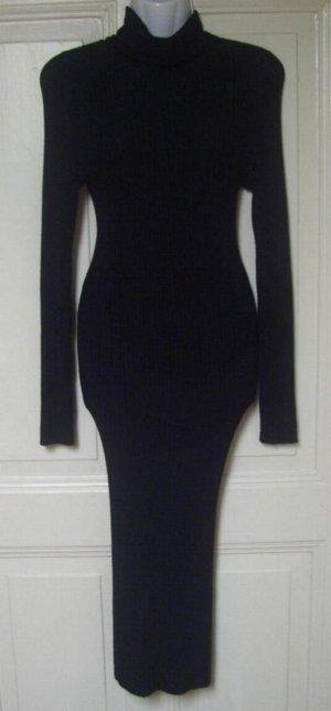 Ultralanges schwarzes geripptes Rollkragen-Kleid Maxikleid von Voyelles ca. S