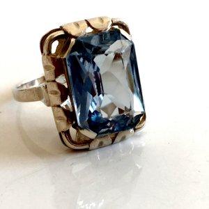um 1930 Antik Art Déco 835er Silber Ring facettiert orig. Laurin Qualität