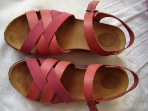 Platform High-Heeled Sandal red-bright red leather