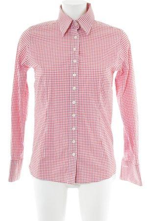 Umani Camisa de manga larga rojo-blanco estampado a cuadros look casual