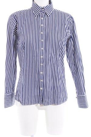 Umani Camisa de manga larga azul oscuro-blanco estampado a rayas look casual