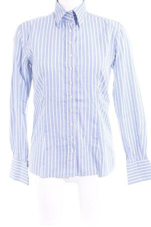 Umani Camisa de manga larga azul celeste-blanco estampado a rayas look casual