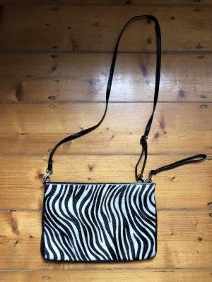 Crossbody bag black-white leather