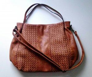 Crossbody bag brown-cognac-coloured imitation leather