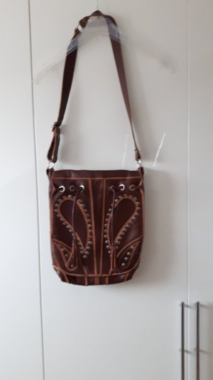 Crossbody bag brown-cognac-coloured leather