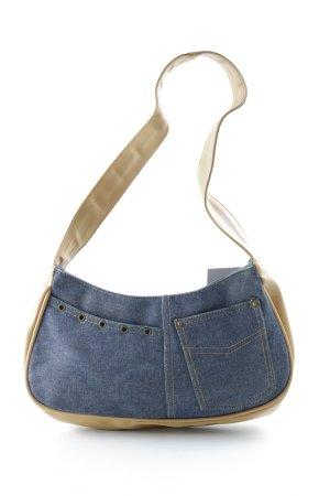 Umhängetasche beige-kornblumenblau Jeans-Optik