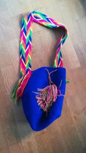 Umhängetasche Boho Hippie handmade mochila blau bunt Wayuu