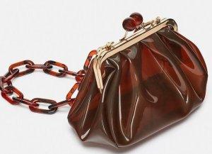 Umhängetasche, Crossbody Bag, ZARA, braun, Kunststoff, leicht transparent