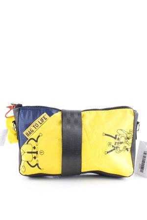 Borsa a spalla giallo-blu motivo grafico stile casual