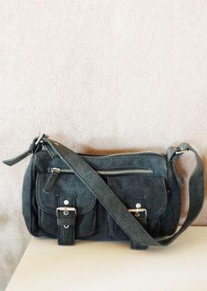 Umhängetasche grau mit Reißverschluss und Außentaschen