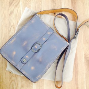 Crossbody bag grey-camel leather
