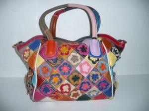 Umhängetasche Handtaschen Henkeltaschen Schultertasche Leder mit Blumen bunt