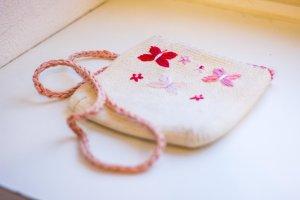 Umhängetasche, Henkeltasche, Clutch, Schultertasche, rosa weiß, Schmetterlinge