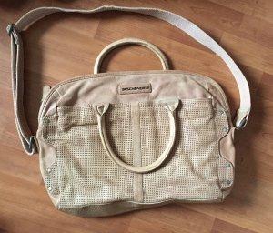 Umhängetasche Laptoptasche echtes Leder beige nude von Taschendieb
