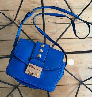 Umhängetasche Tasche Blau Nieten Gold