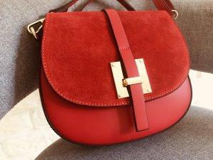 Umhängetasche Tasche Handtasche Leder neu rot  NP 169€
