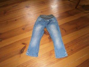 Mama licious Jeans a 3/4 blu acciaio Tessuto misto