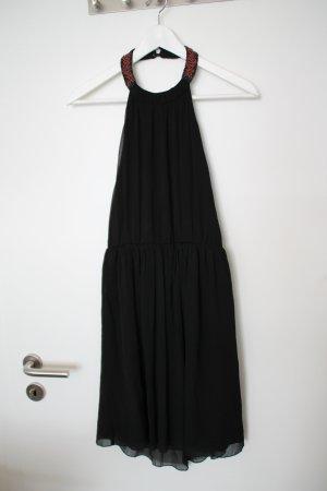 Umwerfendes schwarzes Neckholder-Kleid von Mango m. Perlen am Kragen Boho Look