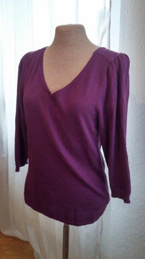 Turnover Jersey con cuello de pico lila-violeta oscuro lana de angora