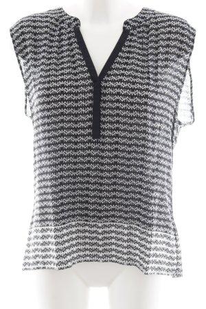 Un Deux Trois Kurzarm-Bluse schwarz-weiß abstraktes Muster Casual-Look
