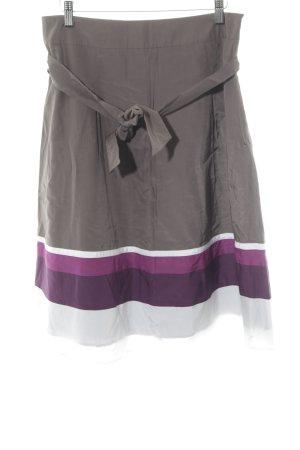 Un Deux Trois Jupe tulipe gris brun-violet motif rayé style décontracté