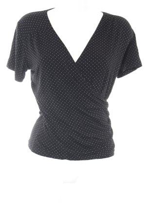 Un Deux Trois Camisa cruzada negro-blanco estampado a lunares look casual
