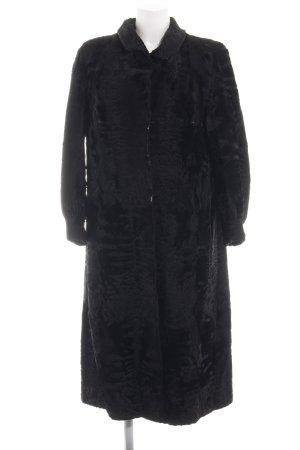 Manteau de fourrure noir style décontracté