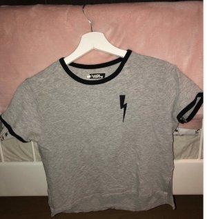 Cropped shirt grijs-lichtgrijs