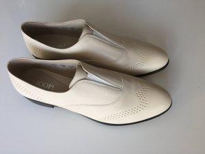 ungetragen:   flache Schuhe JOOP! creme 38 1/2 VOLLLEDER mit Staubbeutel