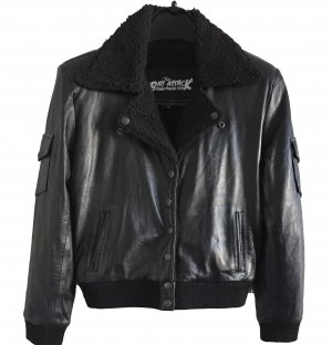 Bomber Jacket black leather