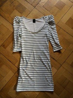 Ungetragen / Schwarz-weiß geringeltes Zara-Kleid mit betonten Schultern (Gr. M)