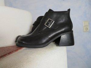 ungetragene 70s/80s Vintage Big Buckle Ankle Boots Gr. 41 Schwarz Block Heel Stiefelette Schnalle afis shoe fashion