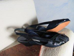ungetragene BALLY Vintage Sling Backs Gr. 40 Blau 100% Echtleder Luxus