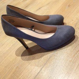 H&M Tacones con plataforma gris pizarra-azul pálido Cuero
