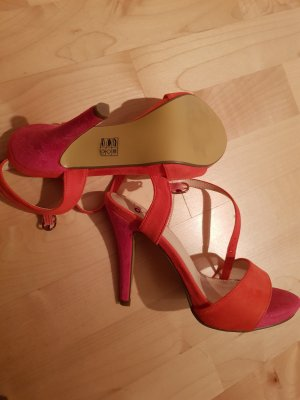 Ungetragene High Heel Sandaletten in orange und pink, Gr. 38