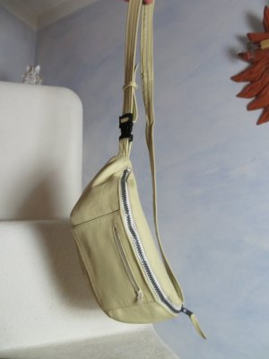 Vintage Marsupio bianco sporco-crema Pelle