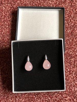 Pendientes de perlas color plata-rosa claro plata verdadero