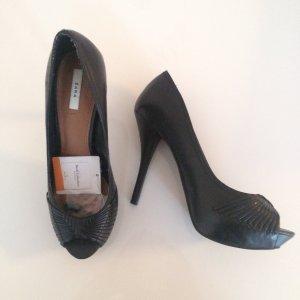 Zara Tacones con punta abierta negro