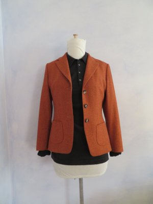 Ungetragene Windsor Jacke Wolle Jacket Rot Orange Terra Fischgrät Mantel Blazer S 36