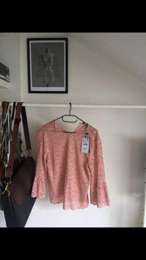 Zara Blusa rosa claro Poliéster