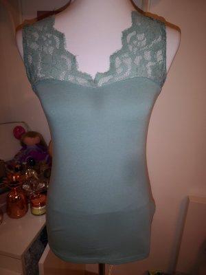 H&M Lace Top pale blue-sage green cotton