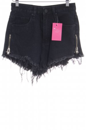 Unif Pantalón corto de tela vaquera negro look casual