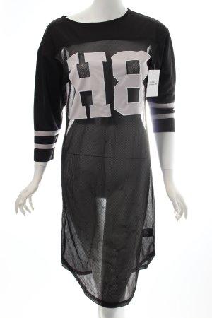 Unif Shirtkleid schwarz-weiß Motivdruck Urban-Look