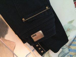 Uniformlook: Dunkelblaue Jeans mit goldene Details, cropped length