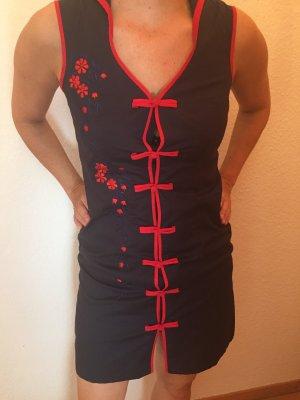Vestido elástico azul oscuro-rojo
