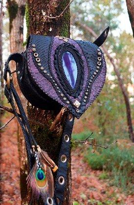 Handbag multicolored leather